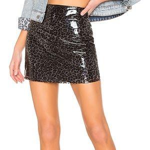 NWT Majorelle Medina Vinyl Leopard Mini Skirt